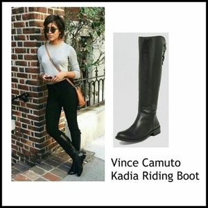 Vince Camuto Black Leather Tall Riding Boot 8